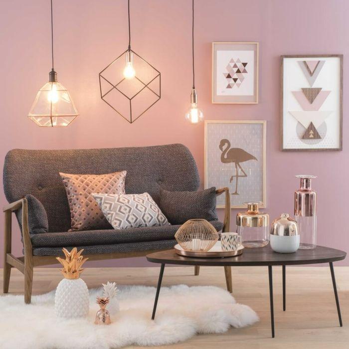 Einrichtungsideen Top Altrosa Wandfarbe Graues Sofa Wandgestaltung Wohnzimmer Farbe