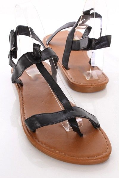 2a41959be51 Black Faux Leather Strappy Knot Detail Thong Sandals   Amiclubwear Sandals  Shoes online store sale Sandals