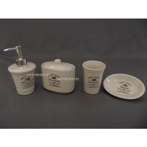 Foto 4 - Jogo Para Banheiro, Porta Escovas, Sabonete Liquido, Algodão - 1048