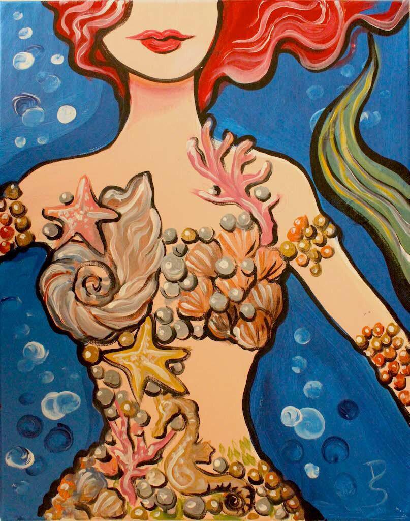 Mermaid painting Mermaid painting, Wine and canvas