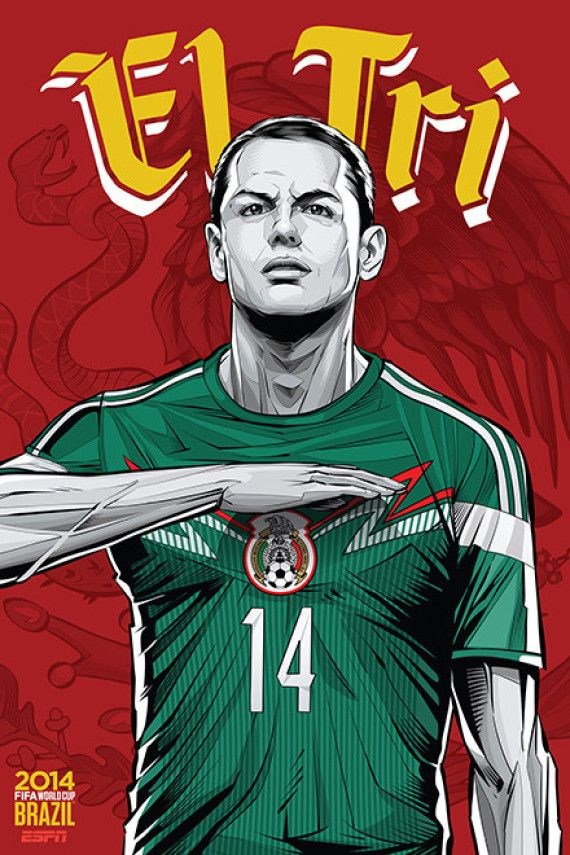 Mexico, Afiches fútbol Copa Mundial Brasil 2014 / World Cup posters by Cristiano Siqueira