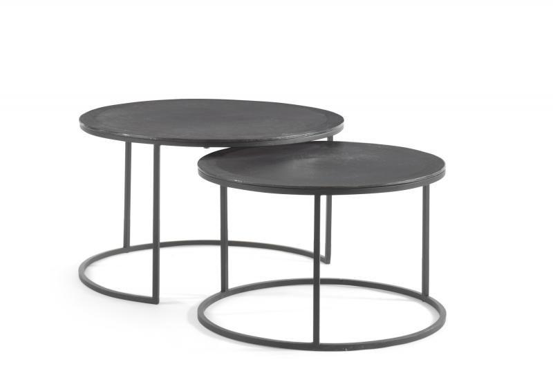 Ronde Metalen Salontafel.Set Van Twee Ronde Salontafels In Aluminium En Metaal Met