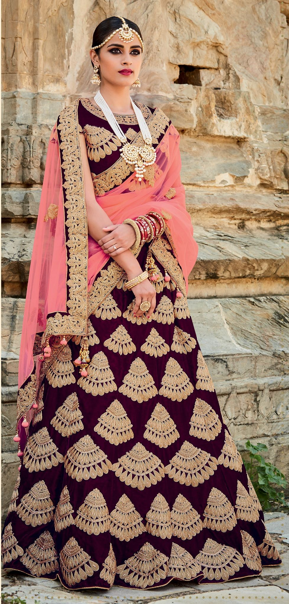 6dfa85820426 Buy Purple and peach color velvet bridal lehenga choli in UK, USA ...