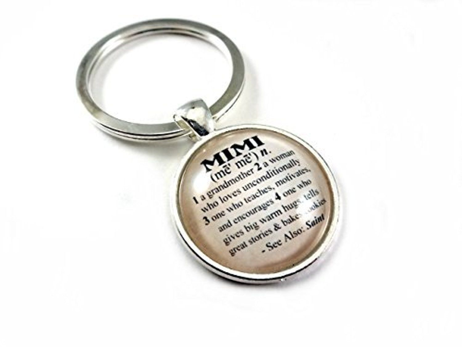 Mimi Dictionary Definition Antique Silver Toned Glass Dome Key Chain ...