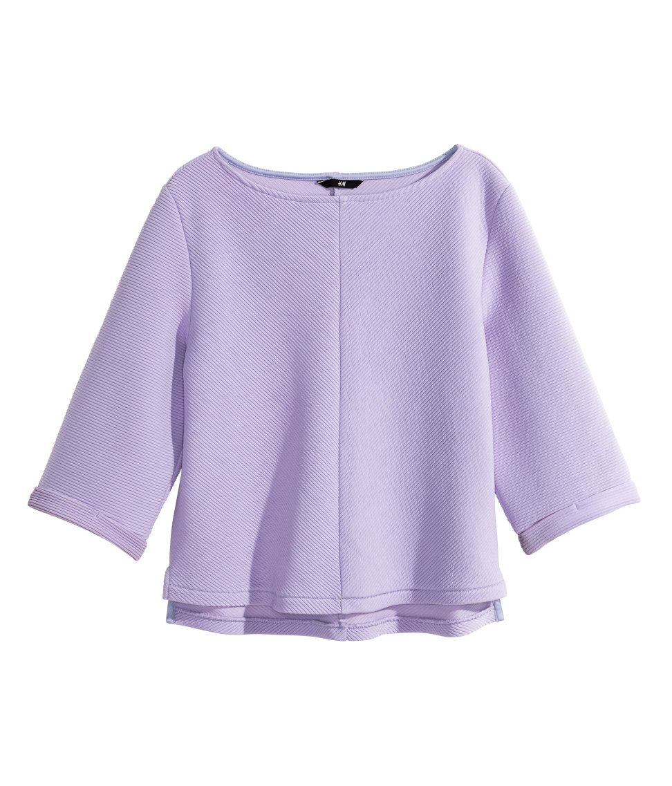 Lavender lightweight sweatshirt top with 3/4-length sleeves & side slits. | H&M Pastels