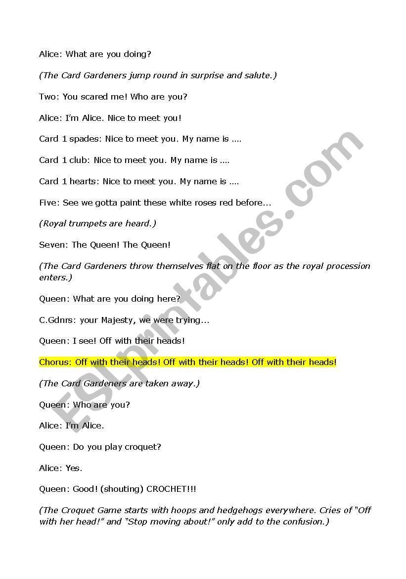 Alice In Wonderland Script For A Play Alice In Wonderland Script Alice In Wonderland Reading Worksheets [ 1169 x 821 Pixel ]
