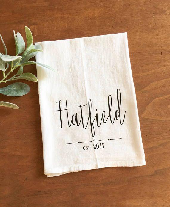 Custom Name Tea Towel Personalized Tea Towel Wedding Gift Gift For