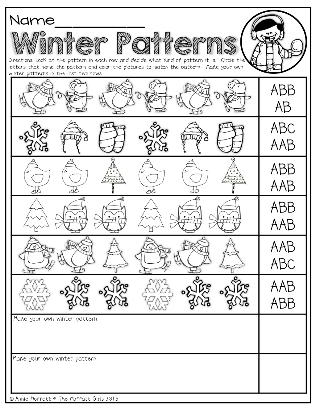 winter patterns kinderland collaborative kindergarten math math classroom teaching math. Black Bedroom Furniture Sets. Home Design Ideas