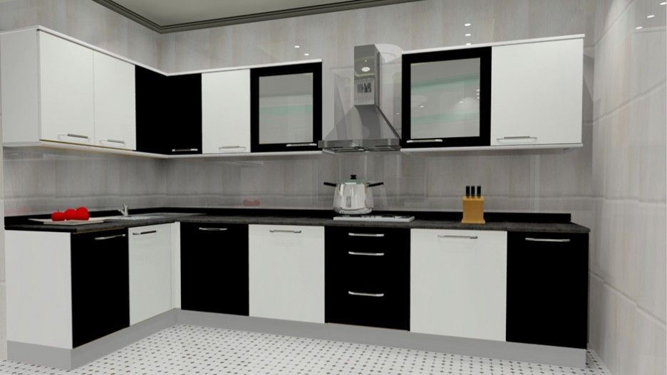 Superieur Popularity Of L Shaped Modular Kitchen Designs: Black And White L Shaped Modular  Kitchen Designs