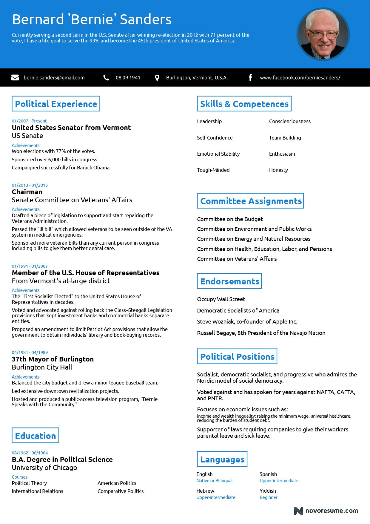 One Page Professional Résumé Highlighting The Professional Competences Of  Bernie Sanders! Create Your Own Résumé For Free At Novoresume.com  #Novorésumé ...