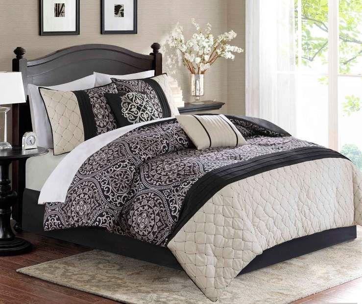 Aprima Dilan Black Ivory Queen 10 Piece Comforter Set
