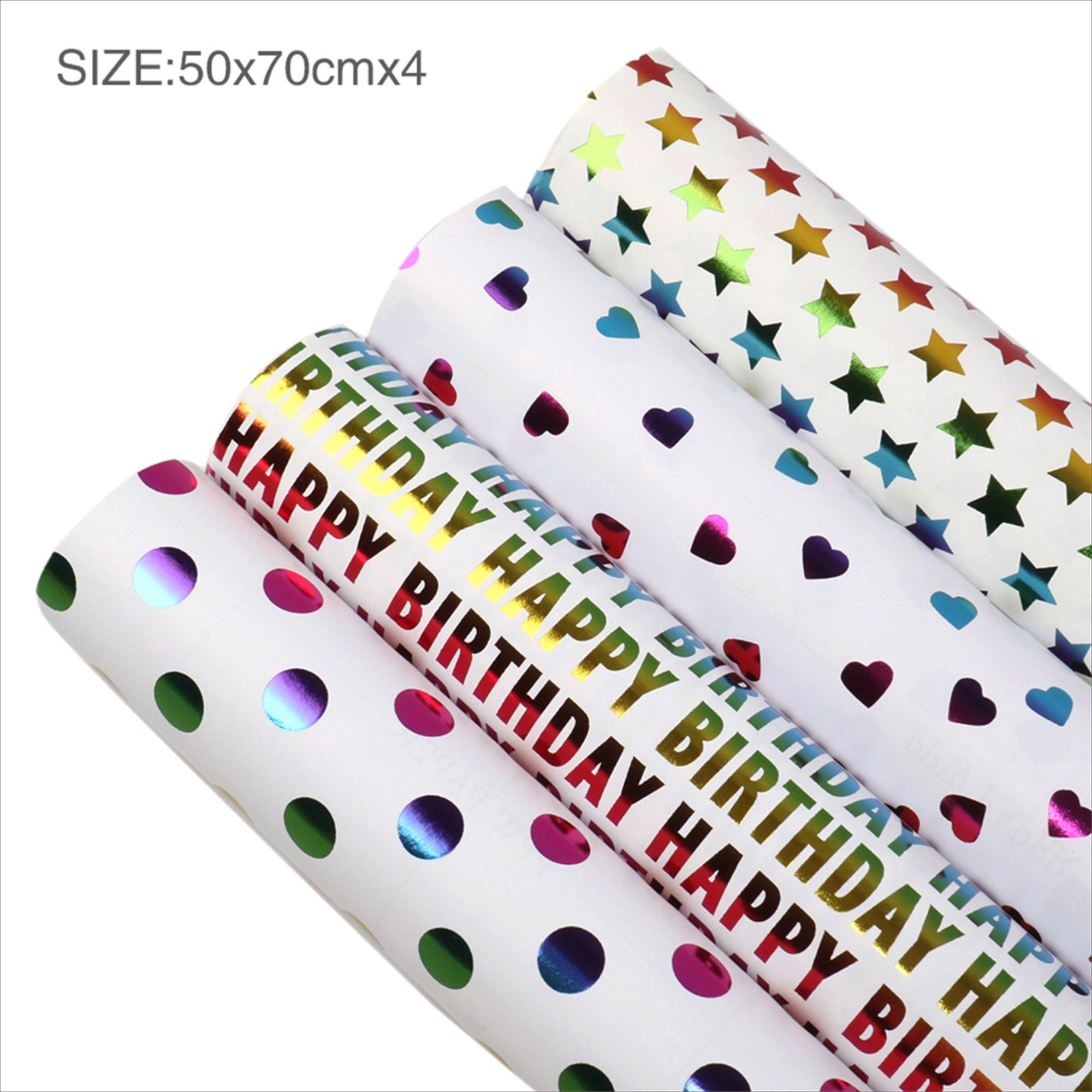 Gift Wrapping Paper Roll 4 rolls/set,Rainbow Color,Heart ...