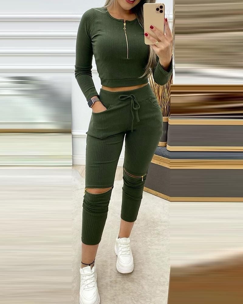 Solid Ribbed Zipper Design Crop Top & Cutout Pant
