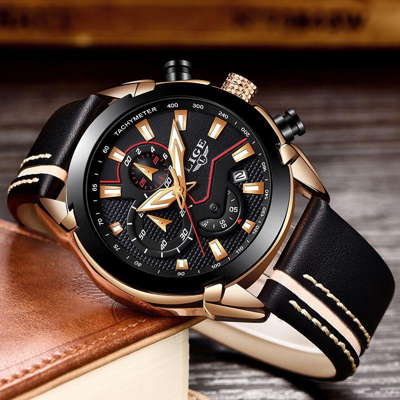 Men Watch 2018 New Design Fashion Lige Brand Watch Men Leather