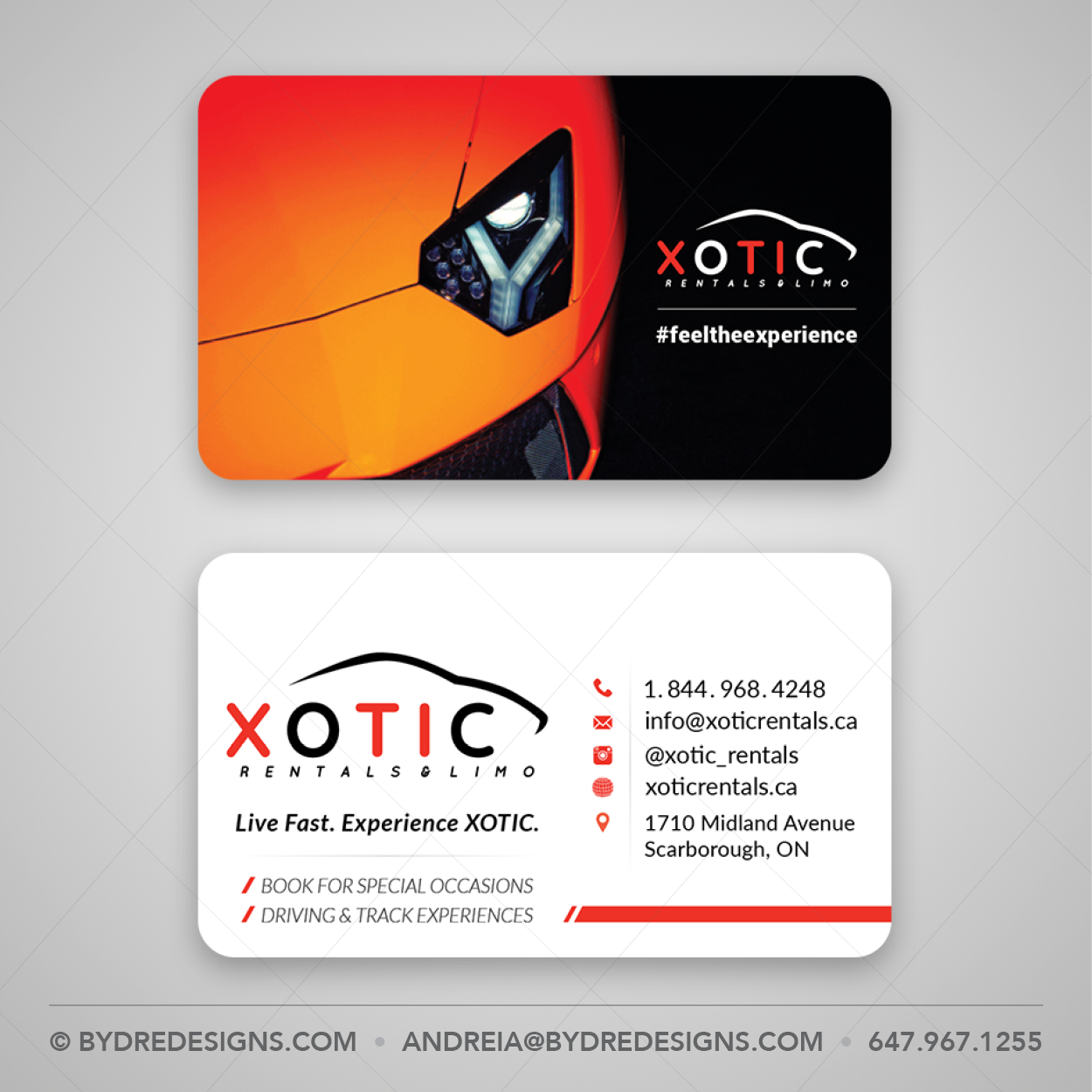 Business Card Design & Print on 20PT Plastic Cards for Xotic Rentals ...