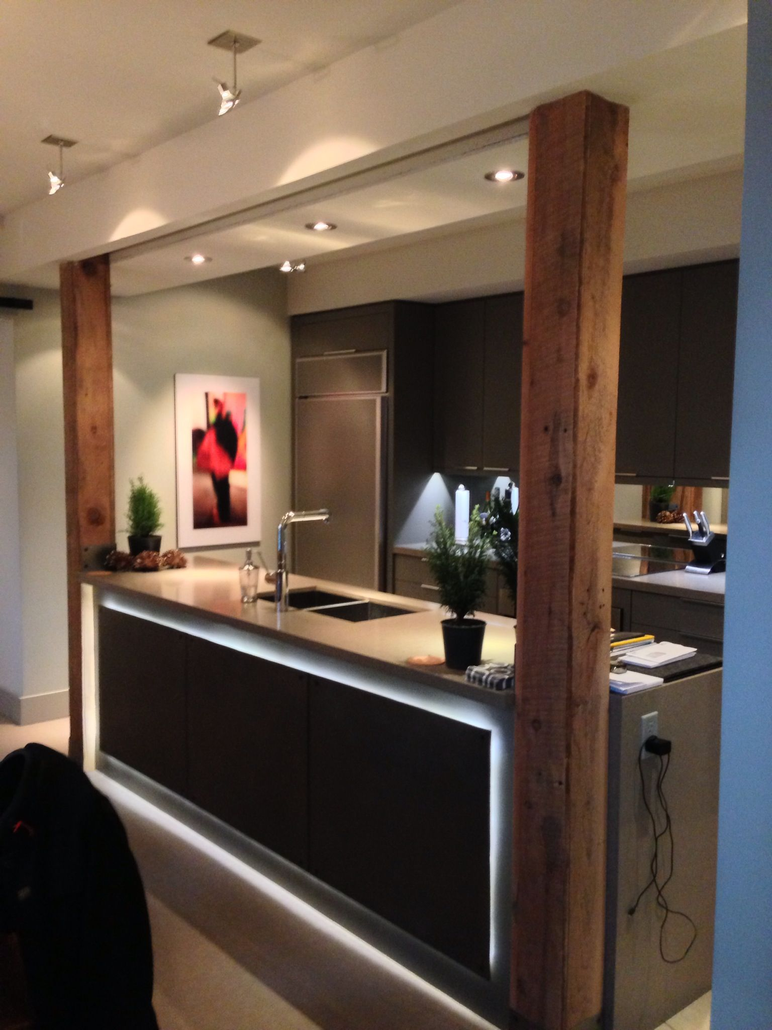 Clients live work house custom kitchen and millwork cold - Kitchen island with post ...