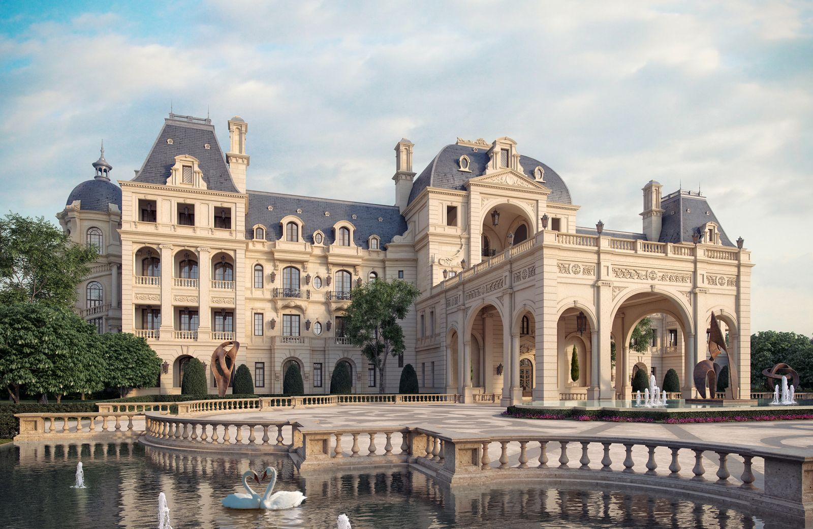 Hotel 3d architecture rendering for French luxury