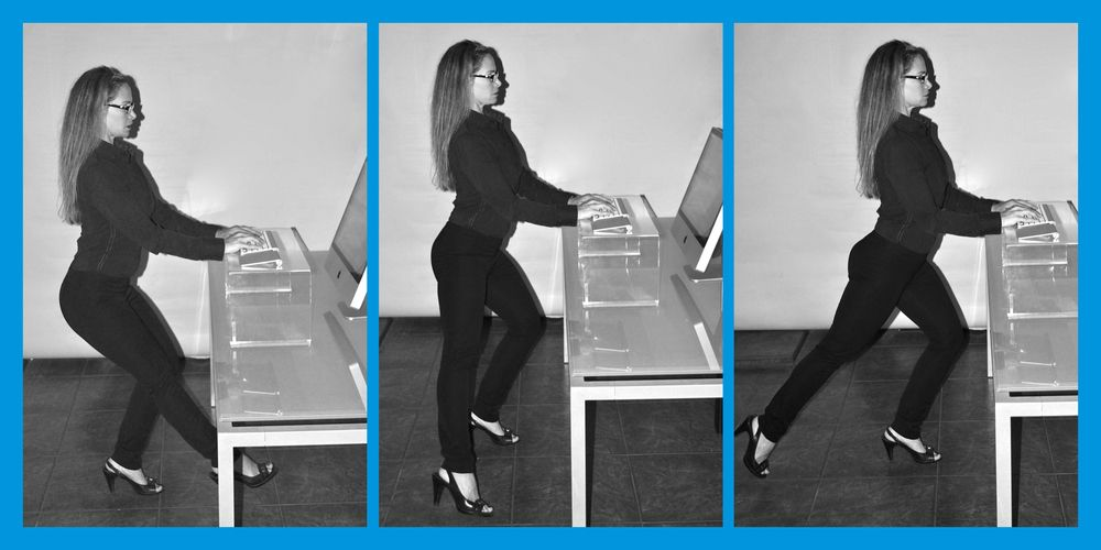 14 Great Exercises At Work With Standing Fit Desk Workout Exercise Workout At Work