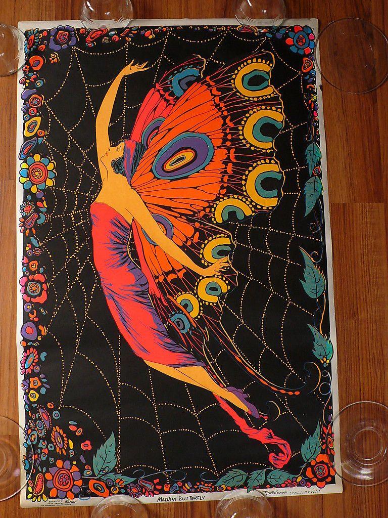 "Vintage 1970 Madam Buttery 22 ½"" x 35"" Original Star City Black Light Poster | eBay"