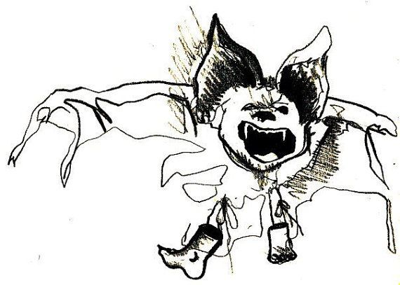 Angry Bat : Print of Original Drawing