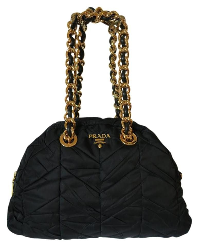72dd61718c1809 Prada Tessuto Nylon Chevron Catena Dome Nero Gold Chain Shoulder Bag ...