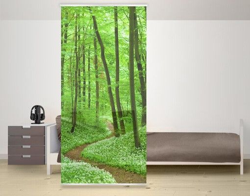 raumteiler romantischer waldweg 250x120cm schiebegardinen raumteiler panel curtain. Black Bedroom Furniture Sets. Home Design Ideas