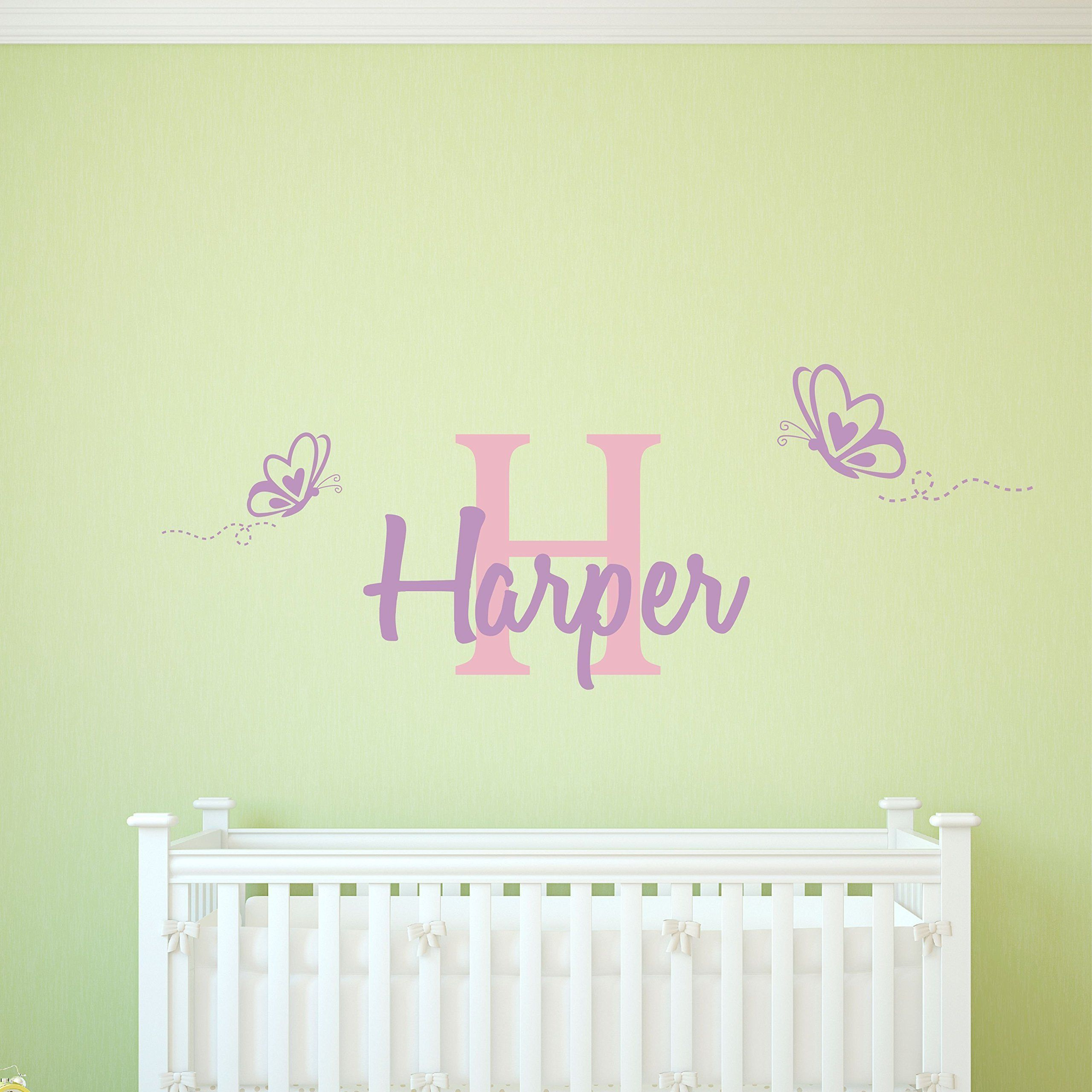 Personalized Name Butterfly Wall Decal. This vinyl wall decal is ...