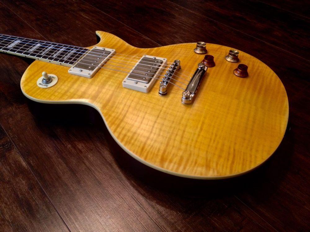 New Vintage V100mrpgm Distressed Flamed Lemon Drop Lp Guitar Case Available Guitarras
