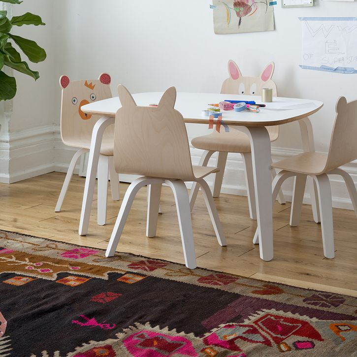 Delightful Fun Playroom Chairs In Birch Or Walnut By Oeuf