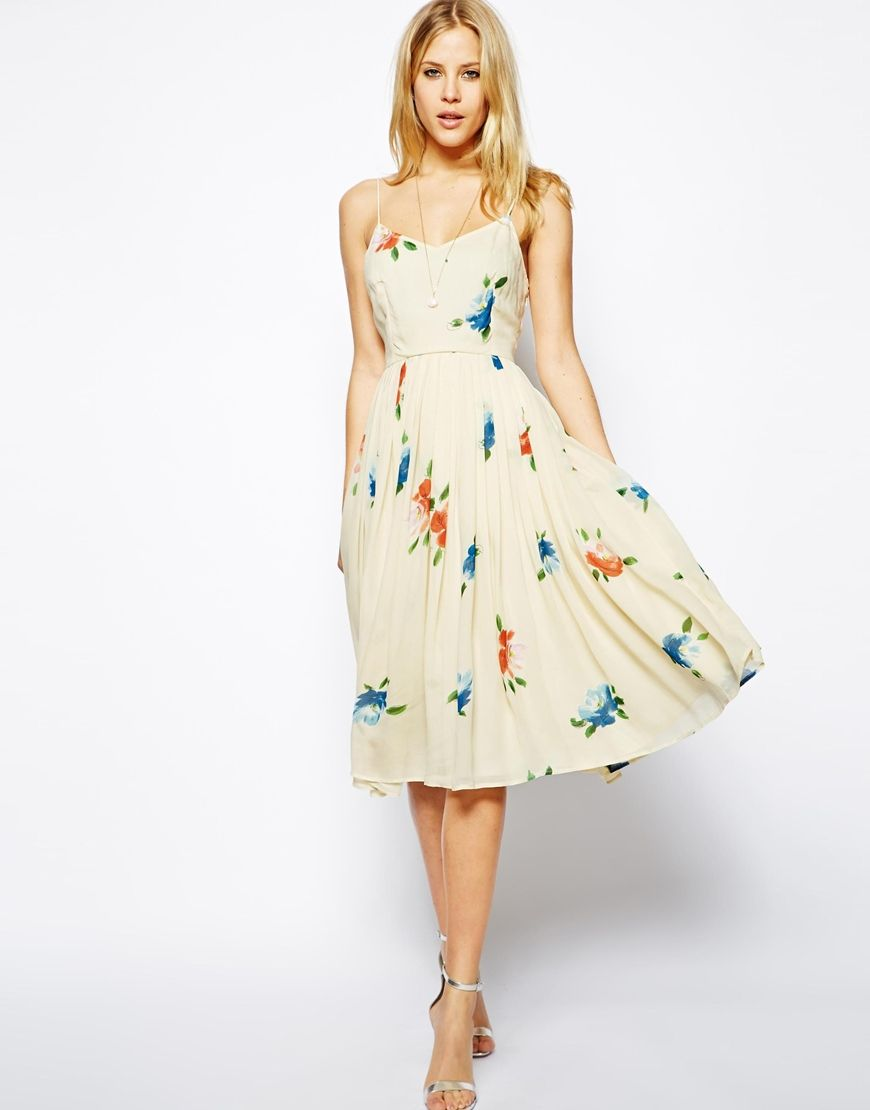 Asos wedding guest dress midi  Midi Dress with Pleated Skirt in Floral Print  Flower dresses Asos