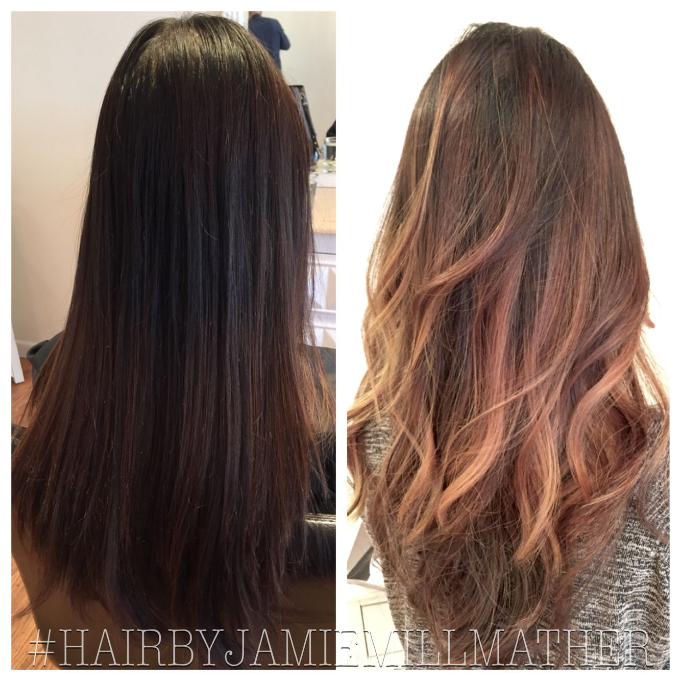 Long Hairstyles And Color Classy Red Hairbefore And Afterlong Layers Haircutbumble And Bumble