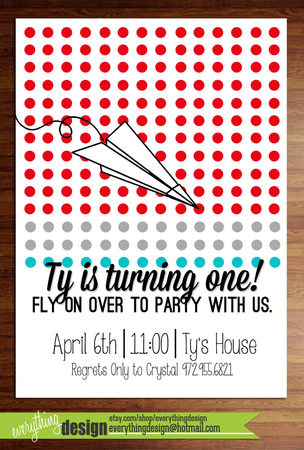 Custom printed Paper Airplane birthday or shower party invitations ...
