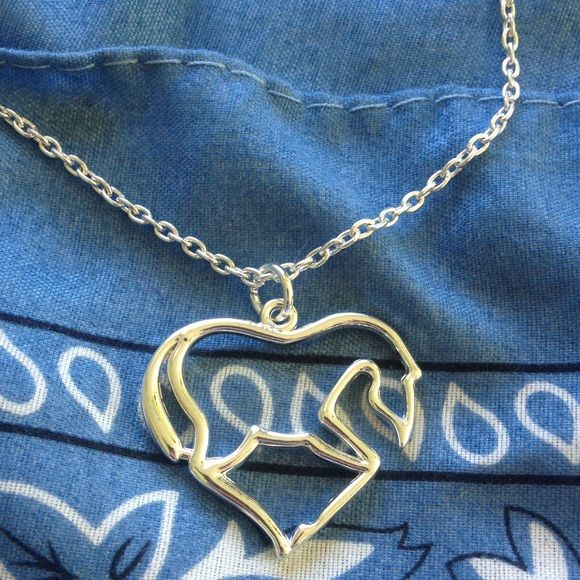 Sterling silver horse necklace Has a damaged clasp but could easily be put on a different chain. Western horse necklace heart shaped. Equestrian Jewelry Necklaces