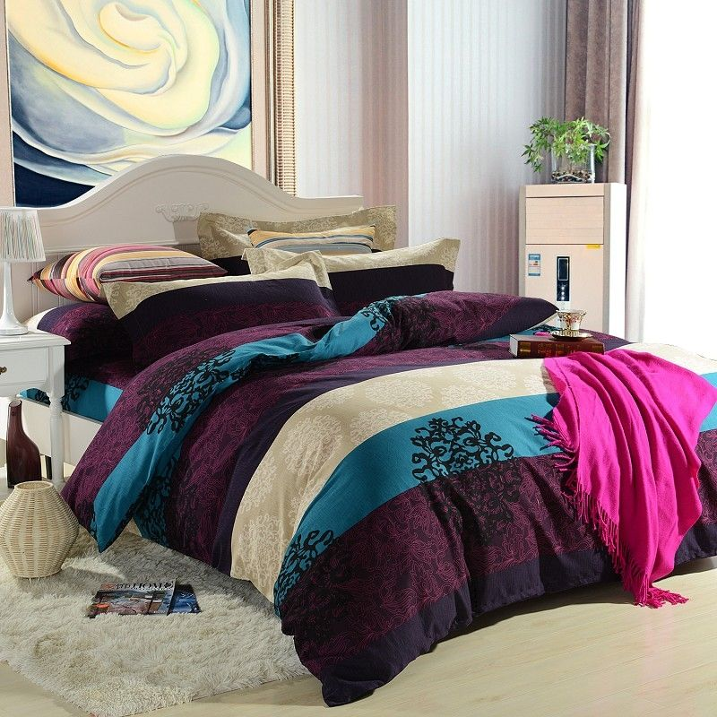 Girls dark purple and teal printed stripe and floral bedding sets - Bedlinnen aubergine ...
