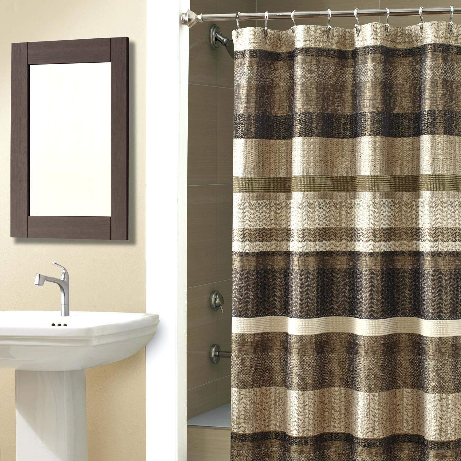 Extra Long Shower Curtain Chocolate Brown Rustic Shower Curtains