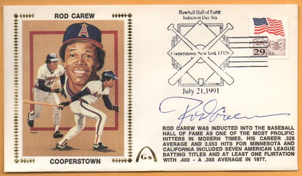 Rod Carew Hall Of Fame Signed Gateway Stamp Cachet - Angels Twins