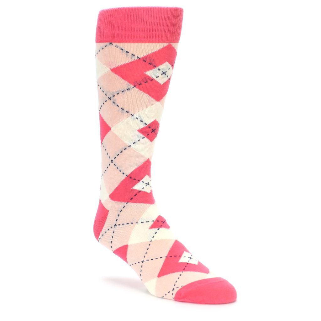 Guava Bellini Pink Argyle Wedding Socks for Groomsmen