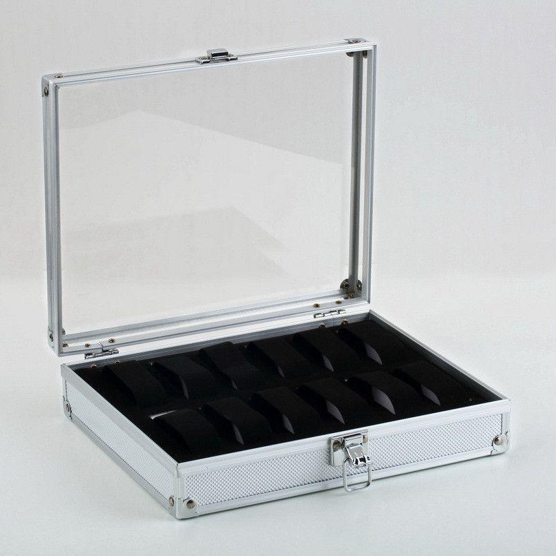 12 Grids Leather Jewelry Watch Display Box Storage Holder Organizer