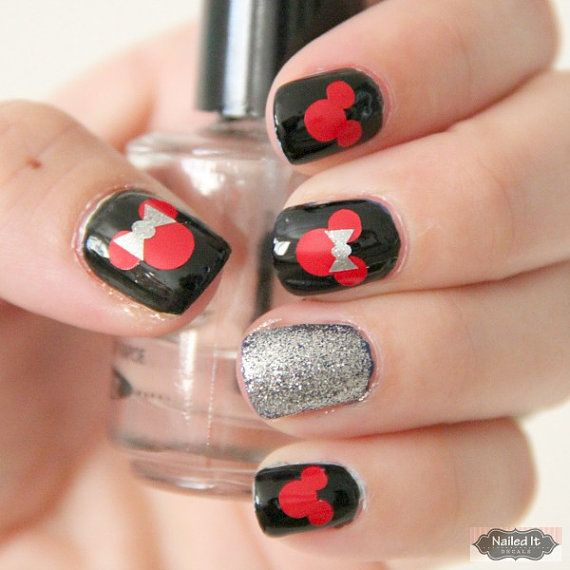 NAILED IT DECALS: 1 Sheet of 24 Mickey Mouse and Bow Nail Decals ...