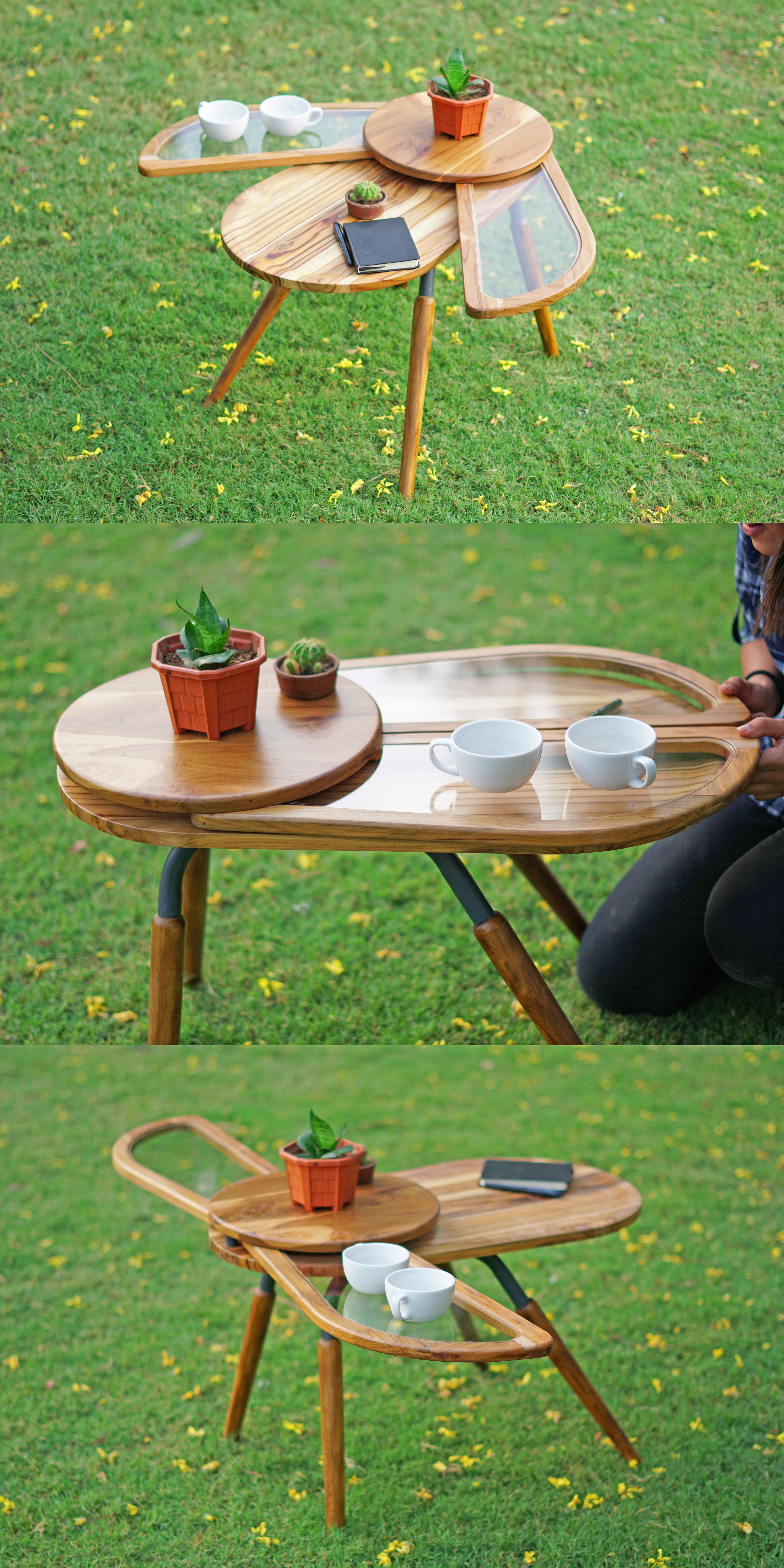 Beetle Inspired Coffee Table Has Wings That Spread Out To Increase Surface Area