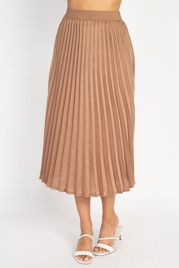 Imported S.M.L A woven maxi skirt featuring a solid color, elastic waistband, pleats, and satin fabric. 100% Polyester Dark Mocha IRI Pleated Maxi Skirt split Size: S Length: