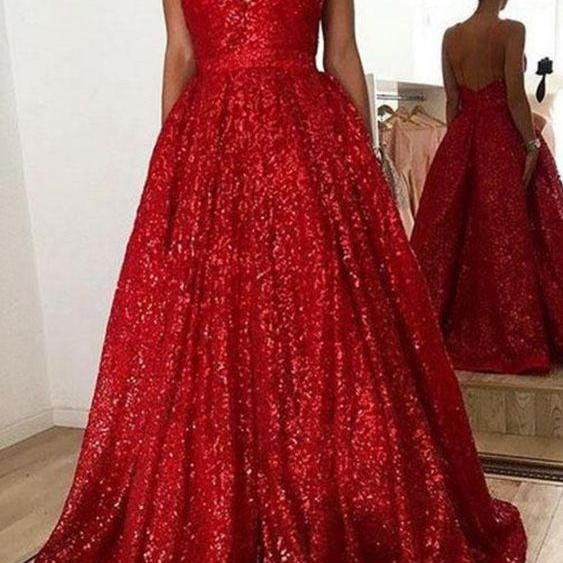 a0274c865a Red Sequins V Neck Long Prom Dress on Luulla