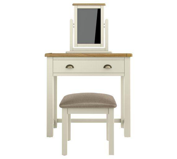 Buy Argos Home Kent Dressing Table Stool Mirror Cream Oak Dressing Tables Dressing Table Argos Argos Home Padded Stool