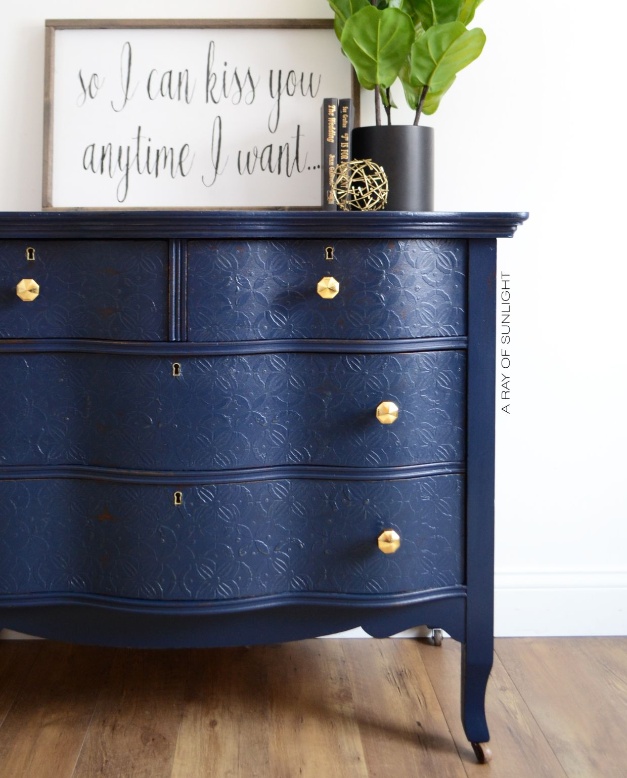 The Peacoat Dresser with Textured Drawers Painting