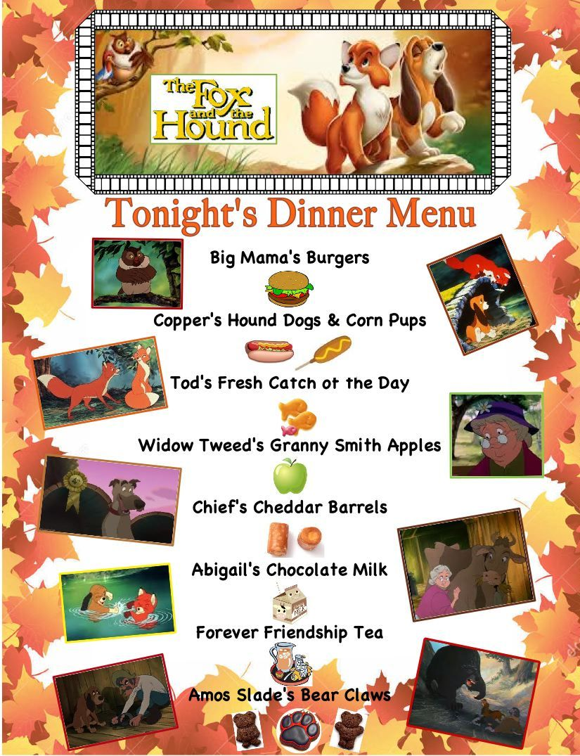 Our Fox And The Hound Dinner A Movie Menu For October