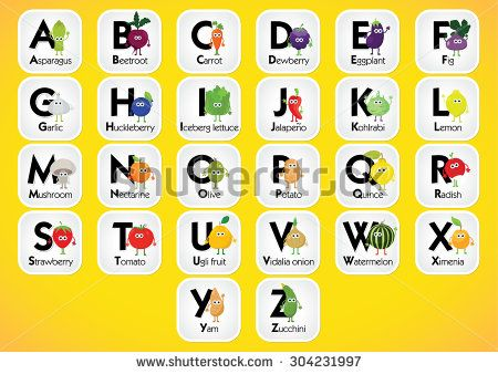 English Alphabet For Kids With Fruits And Vegetables Back To