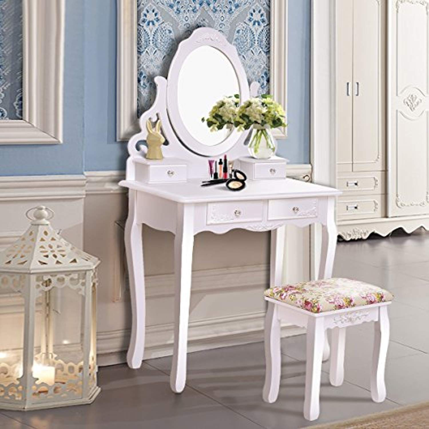 Giantex Vanity Dressing Table with Mirror and Stool, 360Â