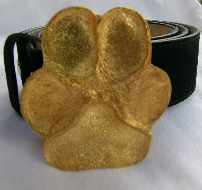 Paw Print brass belt buckle