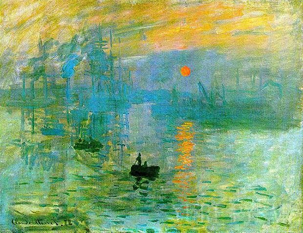 Claude Monet the most popular painting, sunrise with its reflection on water