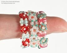 Three completed finger rings - Three completed finger rings using Twin bead daisy chain stitch.